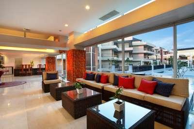 The lobby of the Mantra Nusa Dua Bali features contemporary décor.