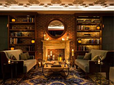 The library at NYLO New York City offers a welcoming atmosphere.