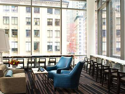 The third-story lounge of the Courtyard/Residence Inn New York Manhattan/Central Park