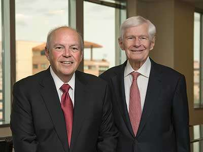 "Thayer Lodging Group founders and co-chairmen Leland  C. ""Lee"" Pillsbury (left) and Frederic V. Malek will helm global lodging as their company transitions to Thayer Lodging Group"