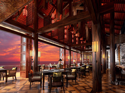 A rendering of the Chinese restaurant dining option in the evening.