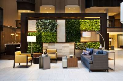 The lobby's vertical garden