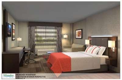 Milwaukee River Inn guestroom rendering