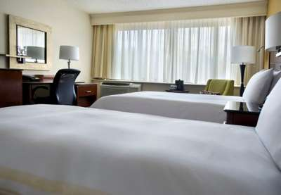 A renovated guestroom at the Boston Marriott Peabody.