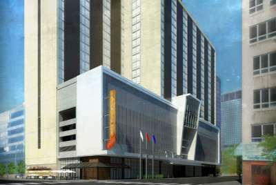 Rendering of the exterior of Westin Cleveland Downtown