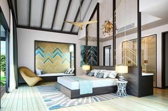 A rendering shows guestroom design for  the under-development Amari Havodda in the Maldives.