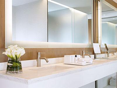 A bathroom sink in The Knickerbocker Hotel