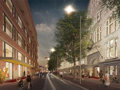 The W Amsterdam will include the former Telephone Exchange building (left) and former KAS Bank building (right).