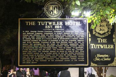 A plaque marks the Centennial of TheTutwiler Hotel
