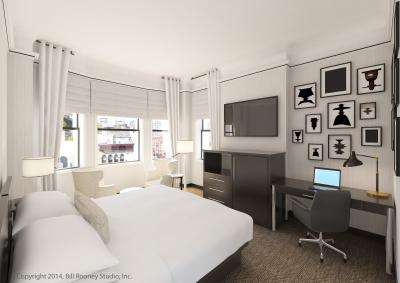 A rendering of The Gregory Hotel guest rooms shows a contemporary flair.