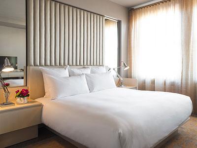 A guestroom at 21c Durham
