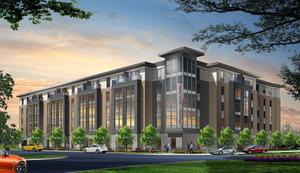 A rendering shows the Hampton Inn & Suites being developed by PK Partners in Indianapolis.