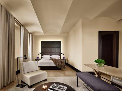 A guestroom in the New York Edition hotel