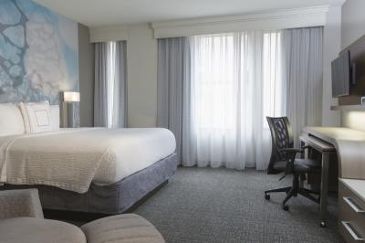 A renovated guestroom at Courtyard Nashville Downtown