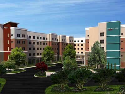 A rendering of the Courtyard and Residence Inn in Raleigh