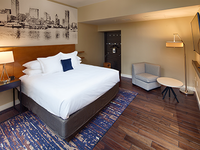 A guestroom at the Hotel RL Baltimore Inner Harbor