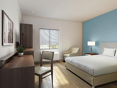 WoodSpring Suites' Refreshingly Simple guestroom