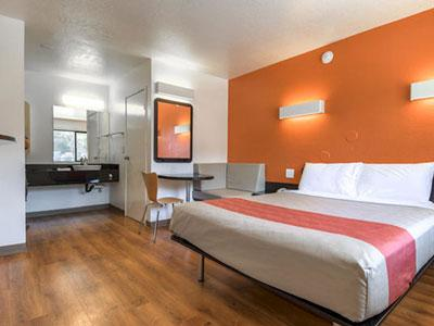 The redesigned Motel 6 guestroom