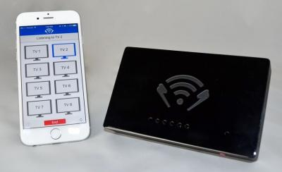 The hearTV app and transmitter