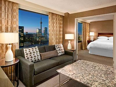 A renovated guestroom at Sheraton Centre Toronto Hotel