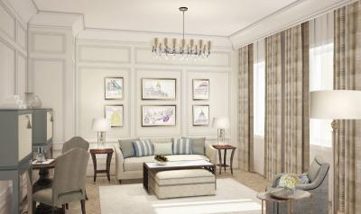 Rendering of a new suite at The Langham