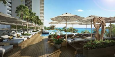 A rendering of the redevelopment's new infinity pool.