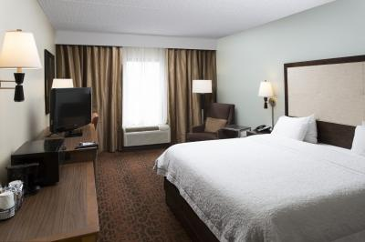 A refreshed guestroom at the Hampton Inn