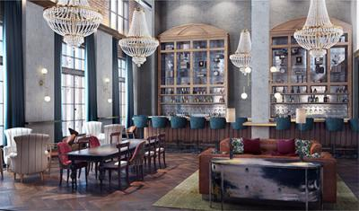 Rendering of the Ramble Hotel's lobby
