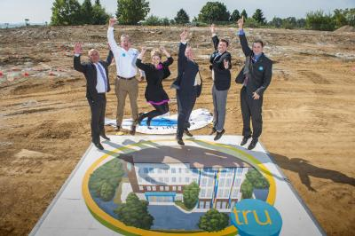 Groundbreaking ceremony for a Tru by Hilton in Lancaster