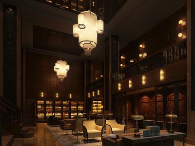 Rendering of Hotel Phillips lobby