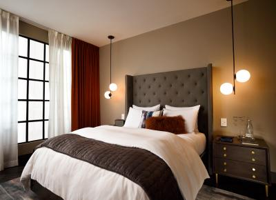 A guestroom at West Elm Hotels