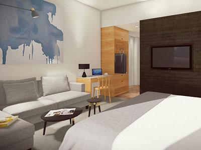 Rendering of guestroom at Hi-Lo Hotel
