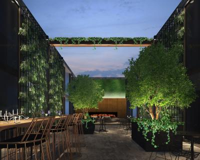 Rendering of courtyard at Cachet Boutique NYC