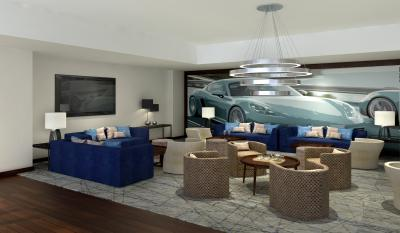 Rendering of lobby lounge at Solís Two Porsche Drive