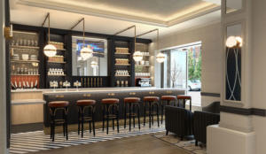 Rendering of Juniper Spirits & Oysters' lobby bar