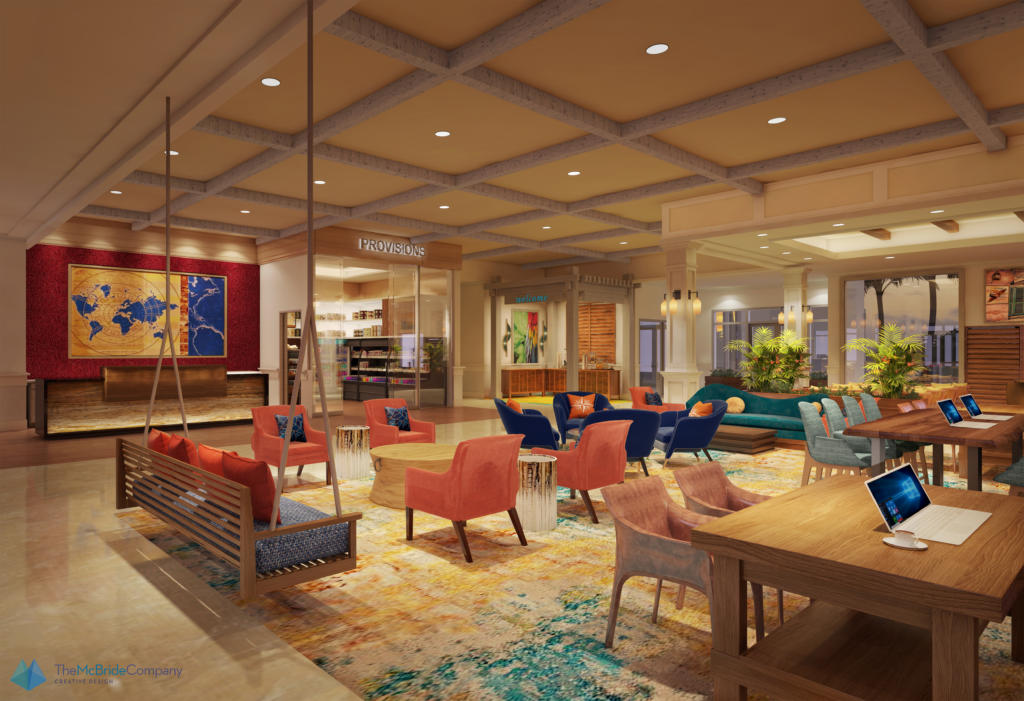 Rendering of lobby for Compass by Margaritaville Hotels and Resorts