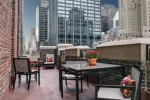 City views from an outdoor patio at The Centerfield Suite at The Lexington Hotel in NYC.