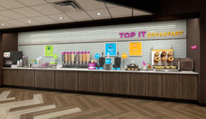 "Tru by Hilton's new signature ""Top It"" breakfast area."