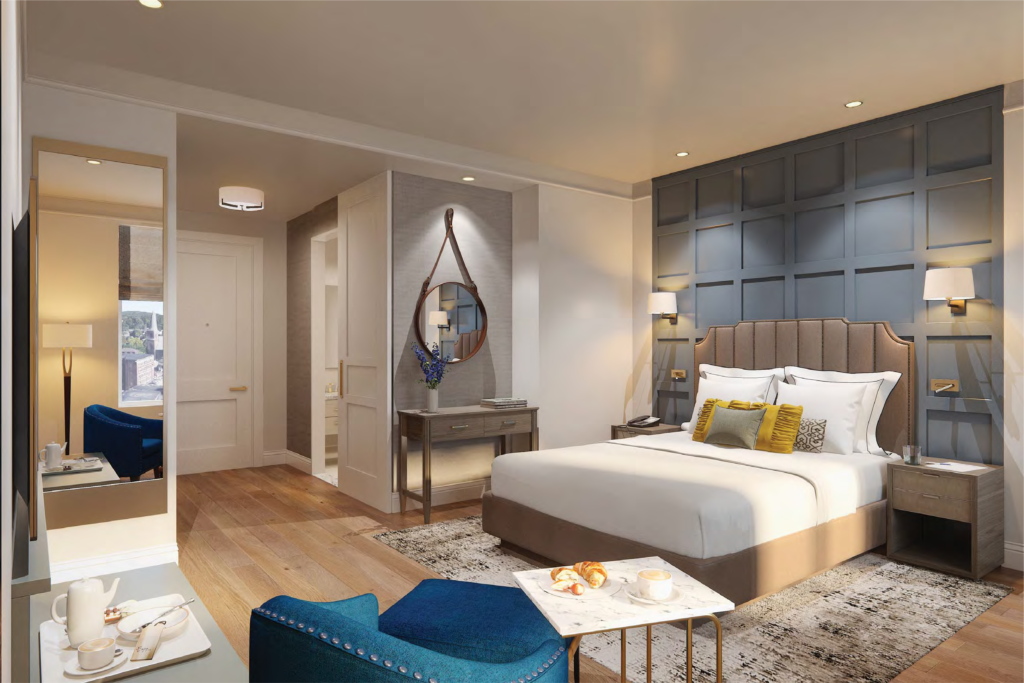 Rendering of guestroom at The Hotel Concord