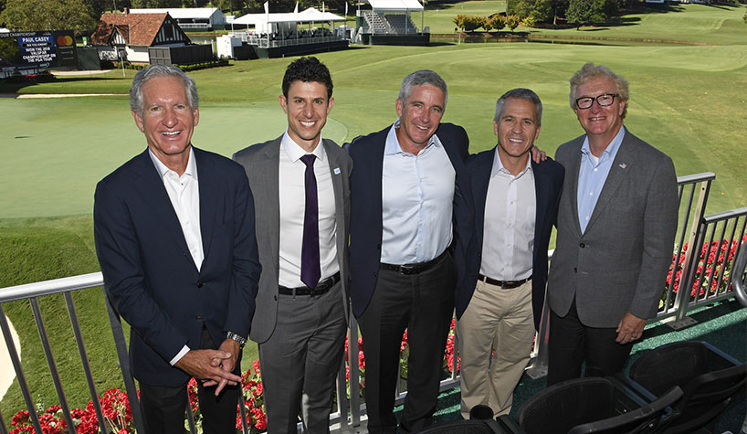 Wyndham and PGA Tour officials celebrate the unveiling of the Wyndham Rewards Top 10 at East Lake Golf Club in Atlanta
