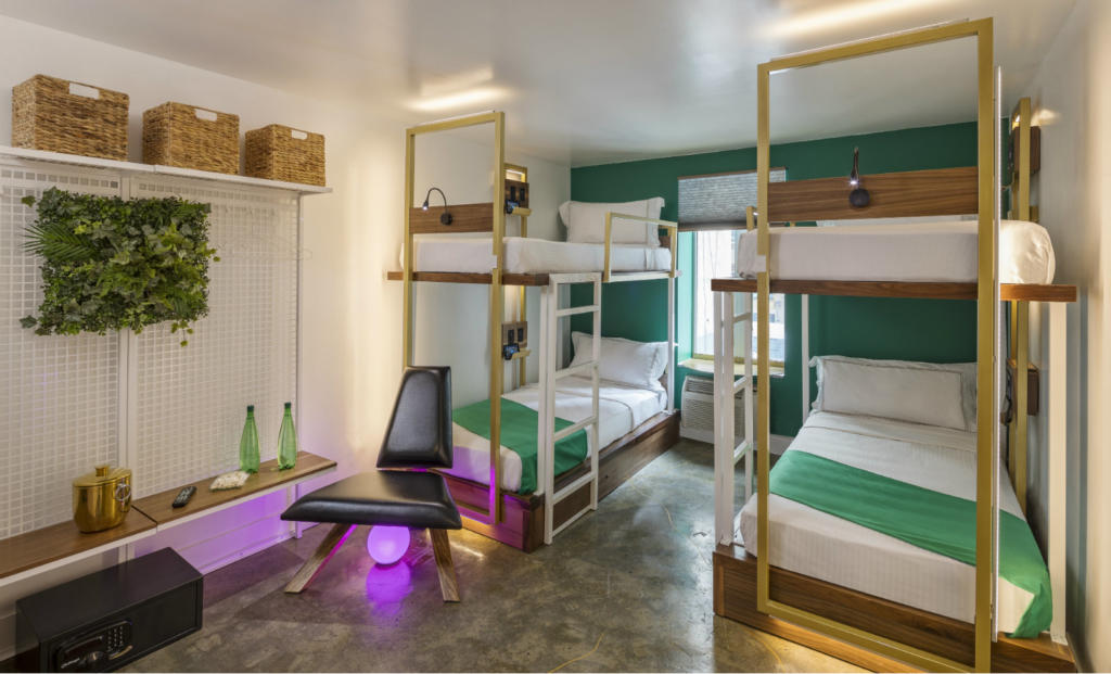 Bunk Bed Room at Lord & Moris Times Square Hotel in New York.