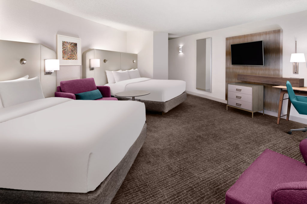 The angled beds in Crowne Plaza guestrooms are designed to cocoon guests or a better night's sleep.