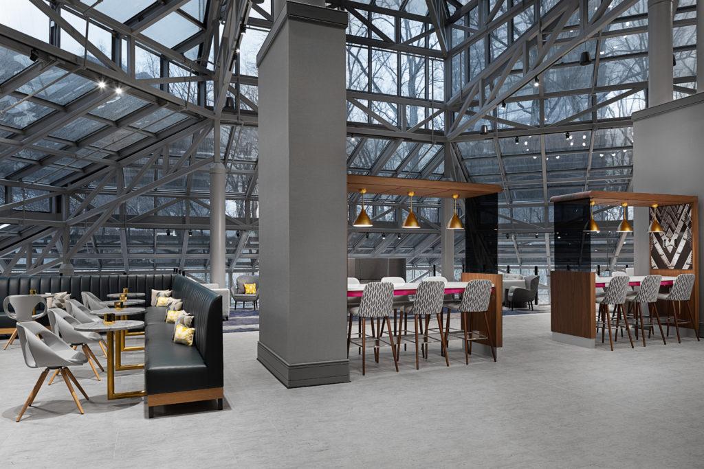 Rendering of the lobby at Crowne Plaza Atlanta Perimeter at Ravinia